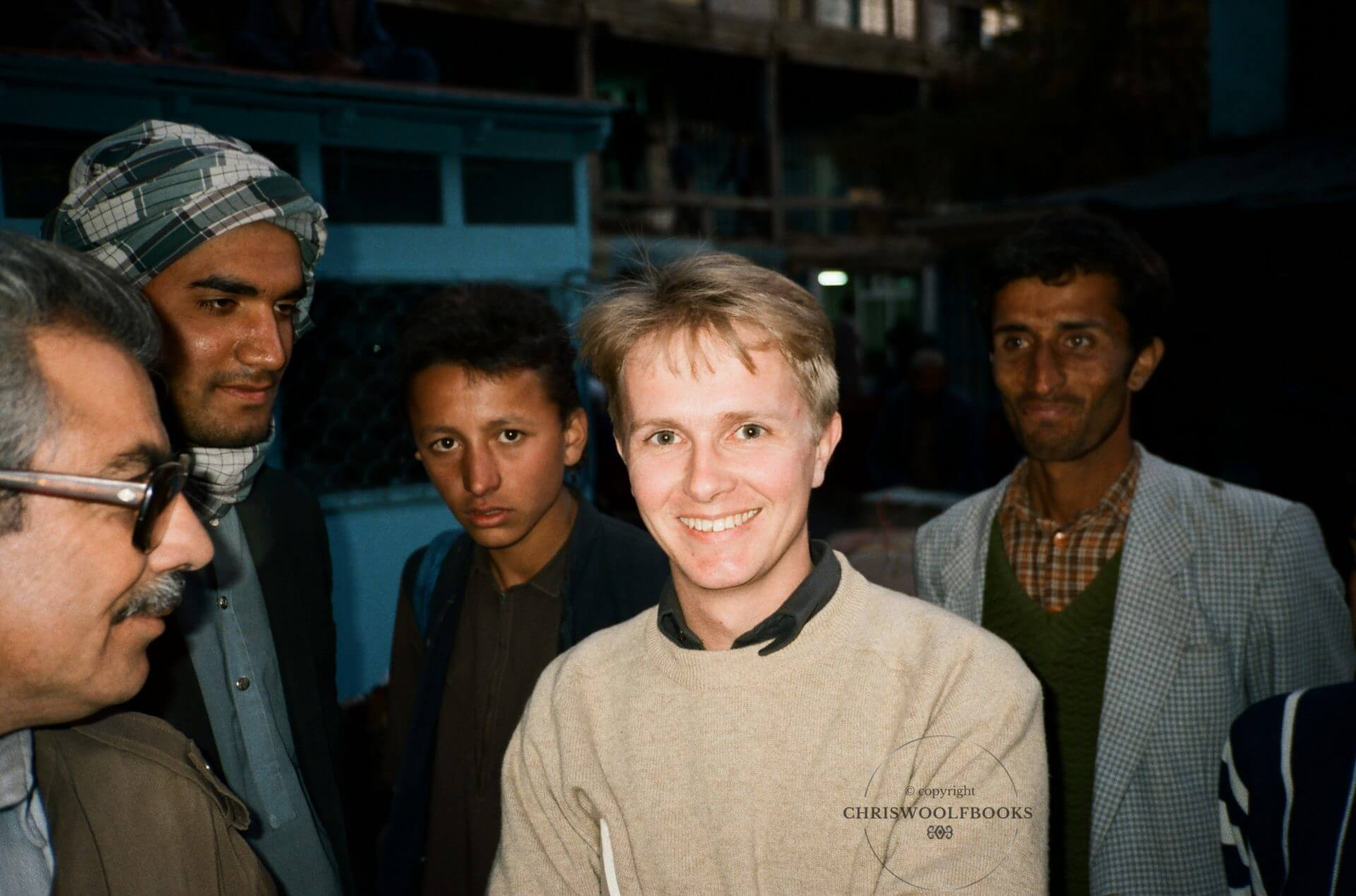 The author in the famous Chicken Street market in Kabul, 1991.
